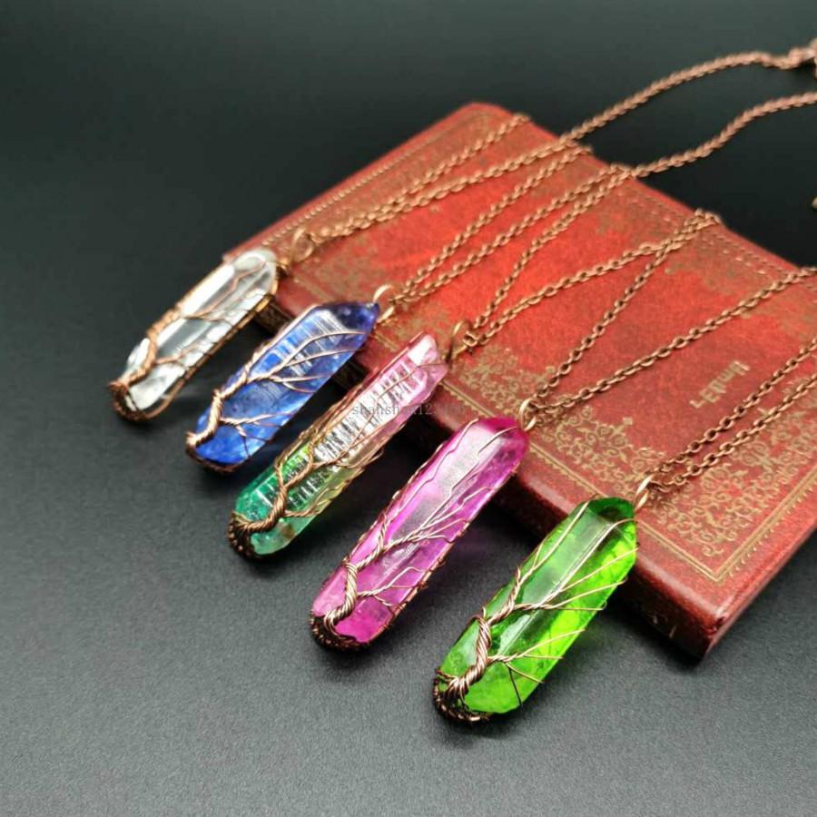 Árbol de punto retro de la vida Collar de piedra natural Punto de cristal Colgante Collar de mujer Joyería de moda Will y regalo arenoso