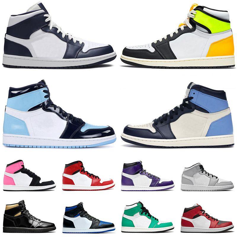 2021 Nouvelle Arrivée Chaussures de basketball 1 1S Volt Gold High Unc Brevet Obsidian Mens de Saint Valentin Valentin Jour Court Violet Entraîneurs Sneakers 36-46