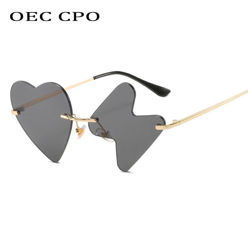 Style CPO Sexy Sun Heart UV400 Sunglasses OEC Brand Alloy Fashion Rimless Women Cat Love Glasses Female Designer Glasses Eye Xfjpb