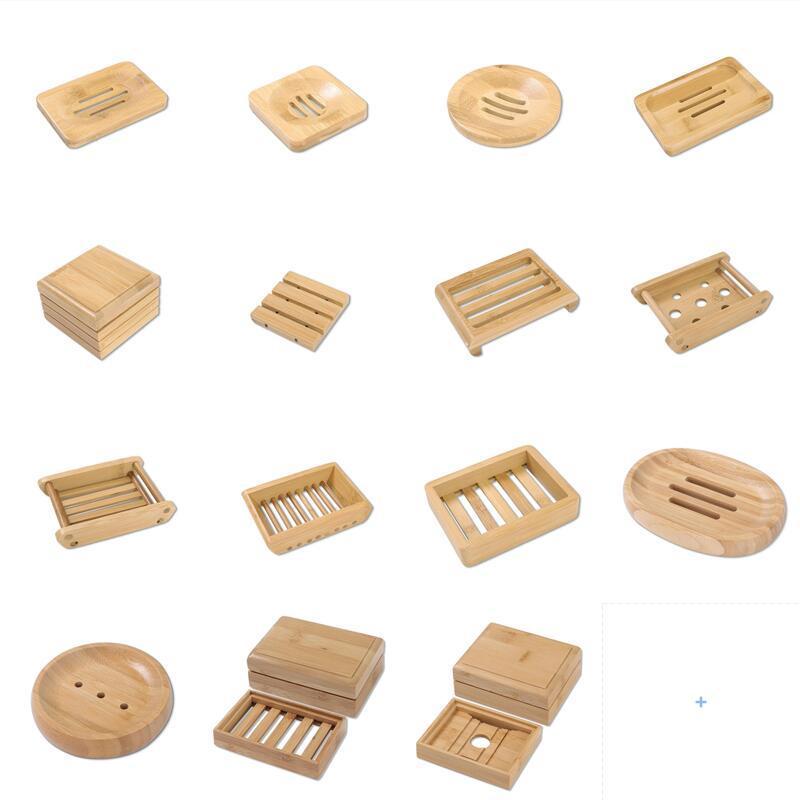 Multi estilos de jabón de bambú natural Platos de bandeja de la bandeja de la bandeja de almacenamiento de la placa de rack de la placa de la placa de la placa de la placa de la placa del contenedor del pabellón de jabón portátil de la caja de almacenamiento
