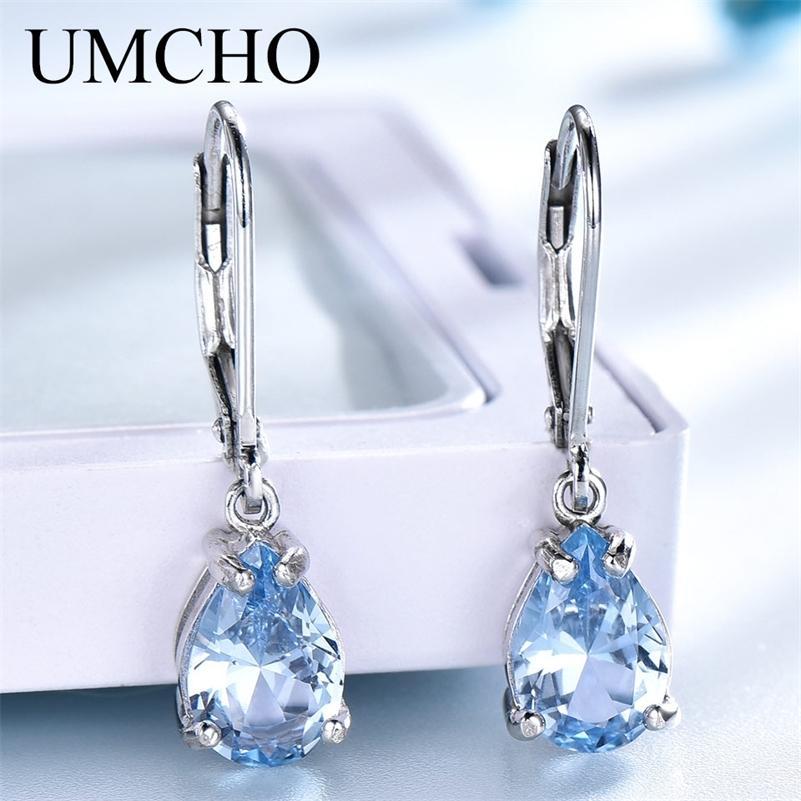 UMCHO Gota de Água Criado Céu Azul Topaz Clipe Brincos Gemstones 925 Jóias de Prata para Mulheres Elegante Presente de Casamento Fine Jóias 201223