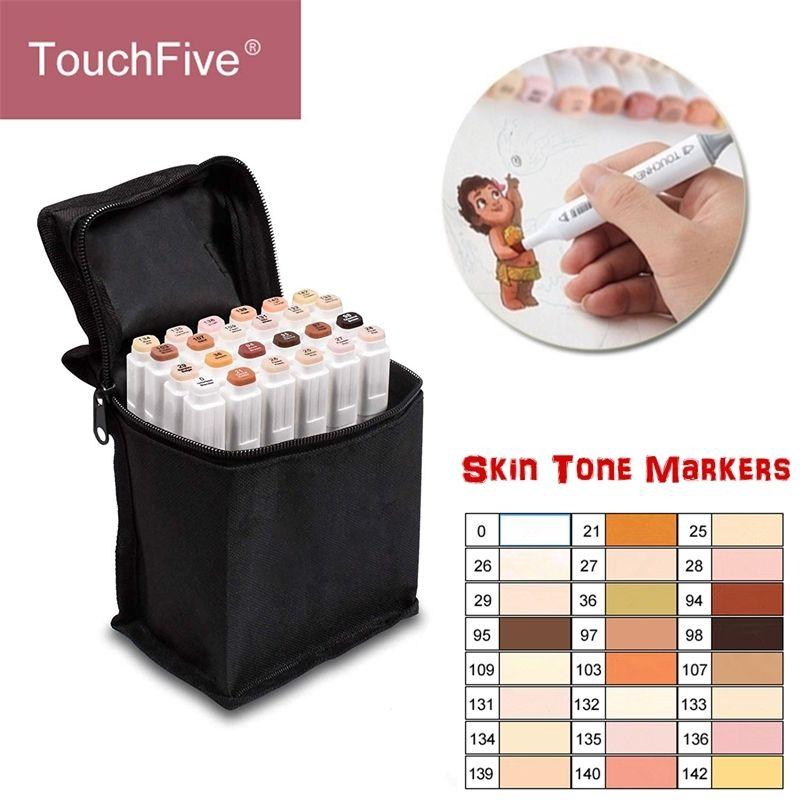 Touchfive 24 colores Tonos de piel Conjunto de marcadores Artista Artista Dual Heared Alcohol Basado Manga Brush Pen para colorear 201222