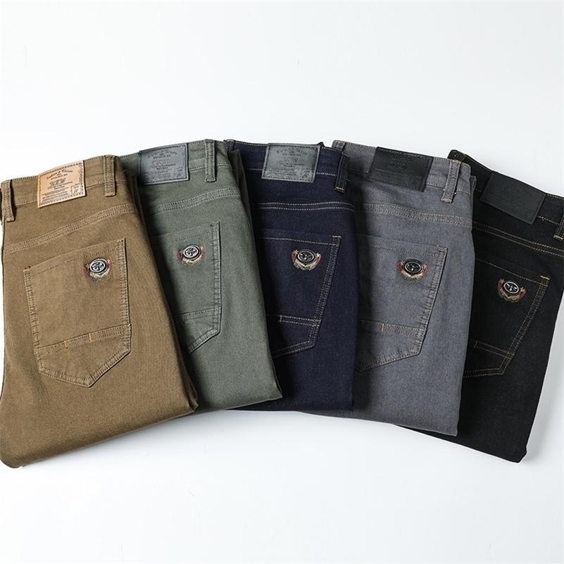 Pantalon Denim Coloré Straight Straight Elastic Denim Mâle Nouveau Homme Entreprise Jeans Mode 6 Couleurs 201111