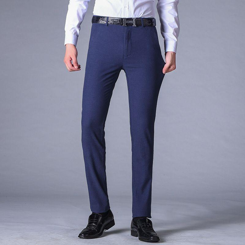 Thoshine Brand Spring Spring Autun Élasticité de coton brossé Elasticité Business Pantalons Hommes Slim Slim Smart Pantalons