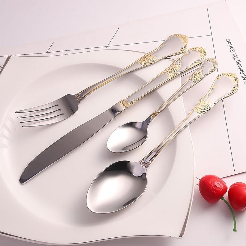 4 ADET Paslanmaz Çelik Yemek Takımları Yüksek dereceli Bıçak Çatal ve Kaşık Çatal Takımları Altın Kaplama Çiçek Desen Sofra