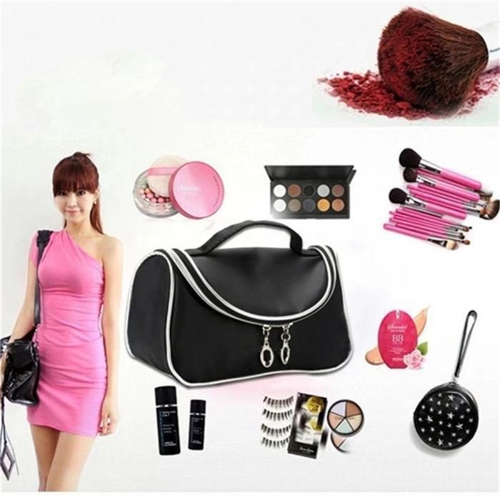 Nuova Borsa cosmetica impermeabile Viaggio Borsa cosmetica Borsa di finitura Definita Banda Specchio Cosmetico Mano Nylon Black Elegante moda