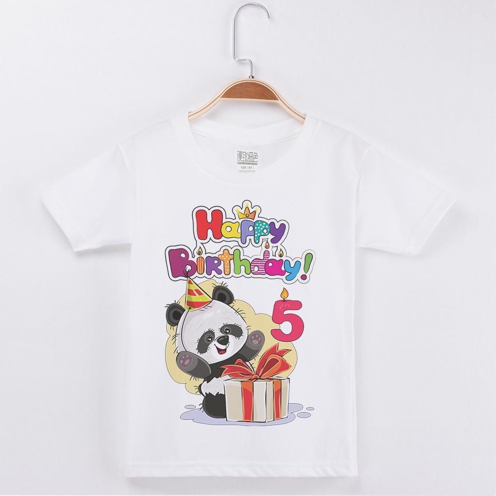 Venda Quente Aniversário Crianças Roupas Panda Impressão T-shirt Algodão Branco Crianças Curtas Roupas Meninos Camisetas Criança Partido Tops Tee Q0112