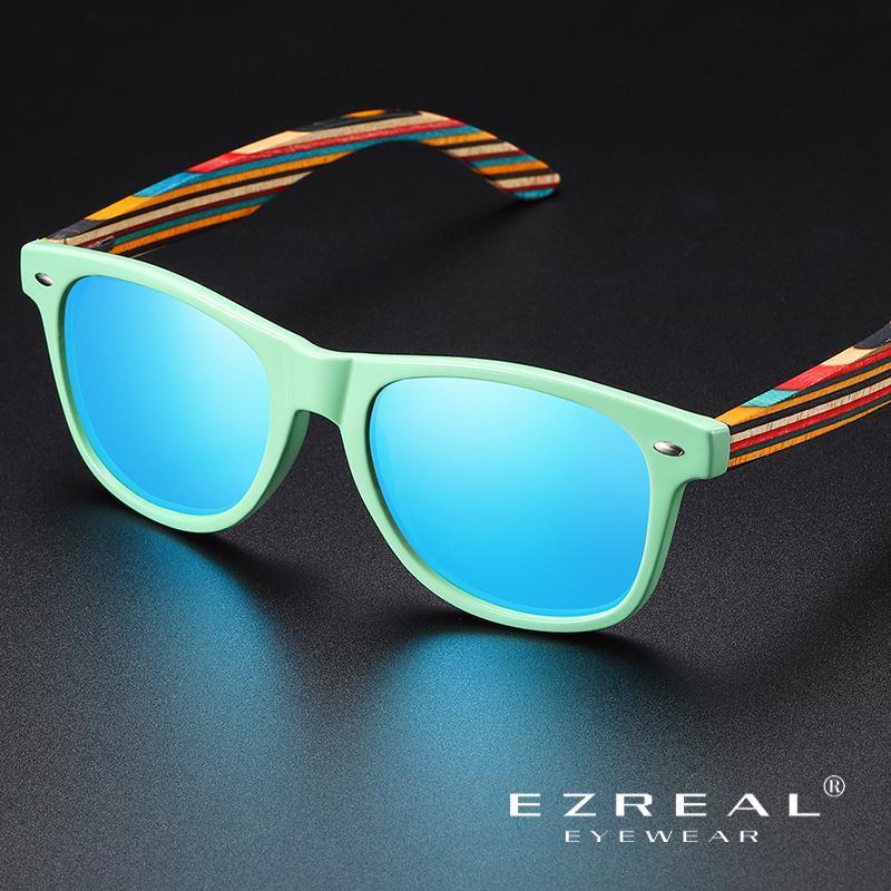 Güneş Gözlüğü Ezreal Klasik Çerçeve Sürüş Kadınlar / Erkekler Marka Tasarımcısı Doğal Ahşap Retro Modu óculos