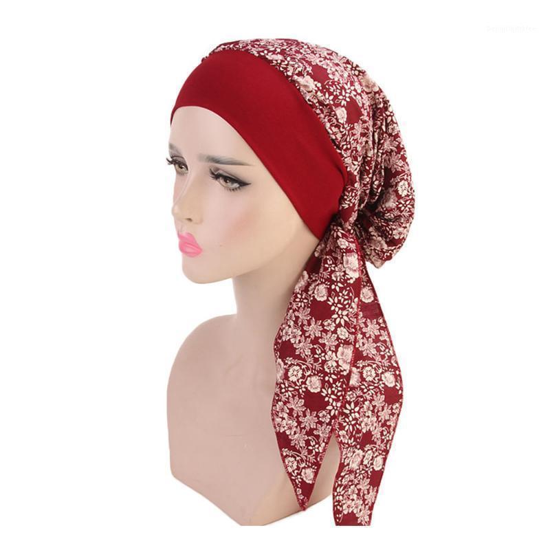 Beanie / черепные колпачки женские многоцветные регулируемые эластичные мусульманские хиджаб мода крышка шарф волос выпадение волос рак химиотерапии полиэстер тюрбан Cap1