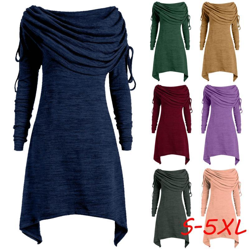 Chic Women Long Knit Suéter Vestido Otoño Invierno Punto Vestidos Grueso Navidad Pantalón Partido Partido Vestido Más Tamaño Ropa