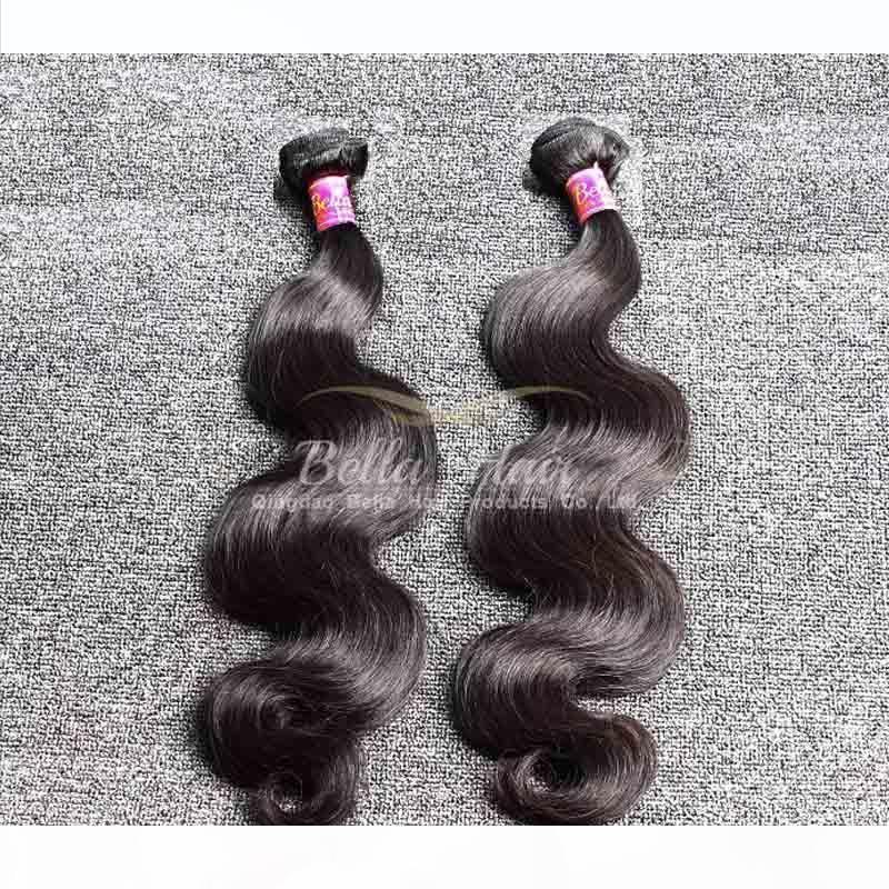 """أعلى جودة الماليزي الشعر ينسج 10 """"-28"""" 2 قطع الكثير ملحقات الشعر اللون الطبيعي bellahair الجسم موجة الجسم"""