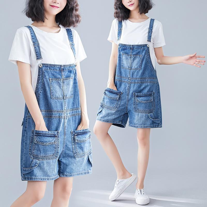السراويل النسائية الدينيم المرأة الشاملة 2021 الصيف الكورية نمط السباغيتي حزام جيب كل مباراة طالب الحمالة قصيرة
