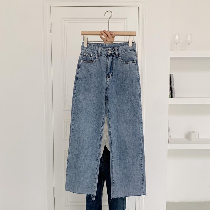 2021 Primavera Nuevos Pantalones de pierna de piernas coreanas Drape es más delgada Súper suave Súper suave Jeans Tendencia SML