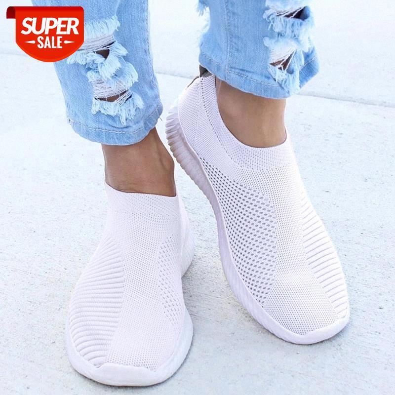Frauen Turnschuhe weibliche gestrickte vulkanisierte Schuhe Casual Slip auf Damen flache Schuh Mesh Trainer weiche Wanderschuhe Zapatos Mujer # M22H