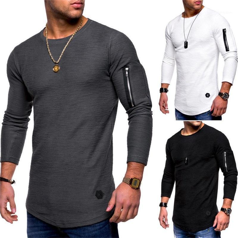 2020 New Men's T-shirt O-Collo T-Shirt Fitness Bodybuilding T-Shirt High Street Spring a maniche lunghe con cerniera Casual Cotton Top1