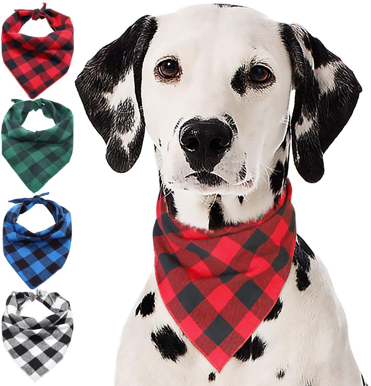 Búfalo xadrez cão bandana algodão bandanas lenços lenços triângulo bibs acessórios para pequenos cachorros médios médios cachorrinhos animais de estimação