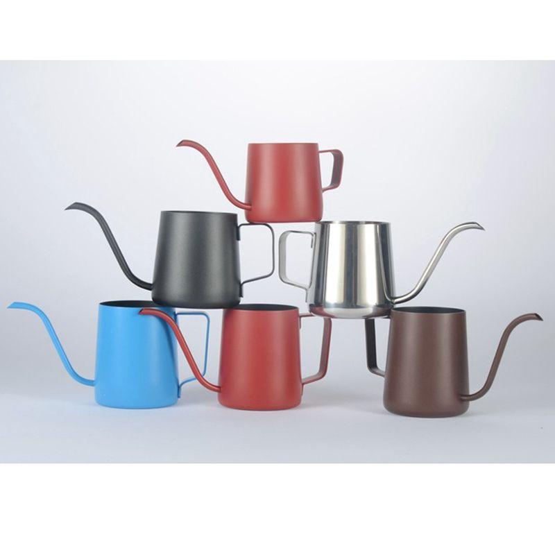 250/350 мл кофейник из нержавеющей стали серебристый черный чайник капельница длинная гусиная шея носика чашка чашка кафе кафе капельница чайник кухня Q0107