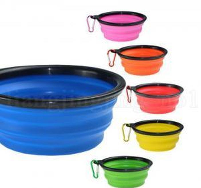 Plato 100 unids Alimentador de viaje PET PET PET COLLABLE SILE Compacto Cat Bowl Dog Potable Food Food Up Feeding Contenedor Pop Container Food Sqcwc