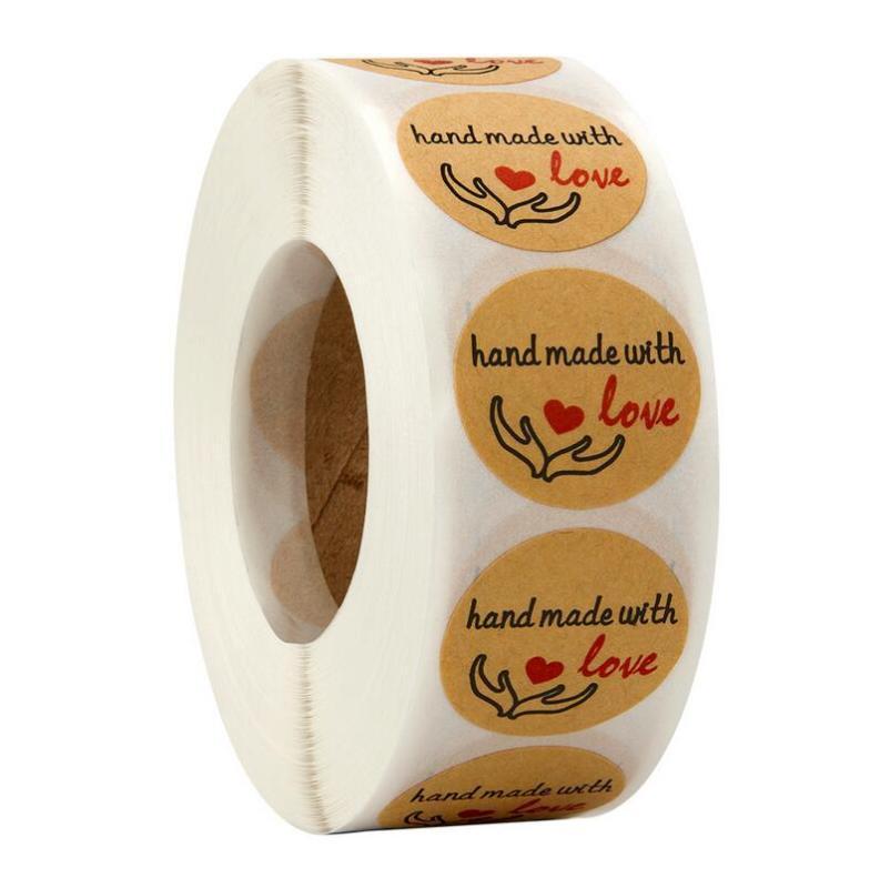 500 adet Rulo Aşk Teşekkürler Etiket DIY Dana El Yapımı Aşk Teşekkürler Etiket Pişirme Etiketi