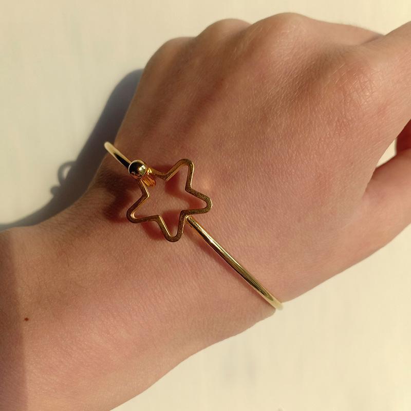Bangle Goth Пять остроконечных звезд, открывающие браслеты для женщин Girlfriend Gold из нержавеющей стали Браслеты браслетов мода ювелирные изделия подарки 2021