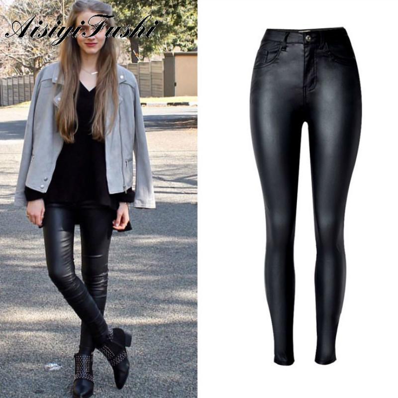 Aisiyifushi Siyah Skinny Faux Deri PU Kadın Yüksek Bel Kot Kadın Denim Kalem Pantolon Kadınlar