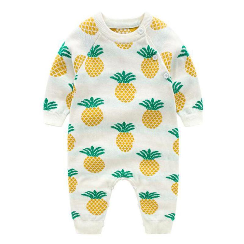 Новорожденный младенческий ребенок мальчики девушки ананасовые розыгрыши одежда новая весна осень дети мальчик девушка с длинным рукавом Rompers одежда Z1214