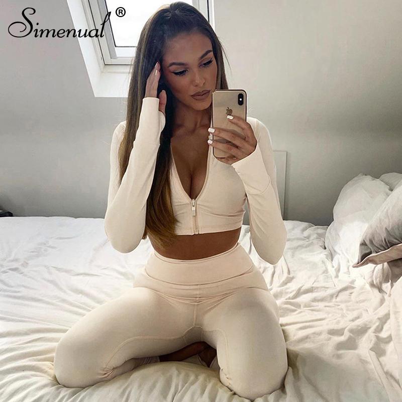 Simenual Sporty Spor Casual Kadınlar Iki Parçalı Setleri Uzun Kollu Egzersiz Aktif Aşınma Bodycon Fermuar Üst ve Tayt Eşofman