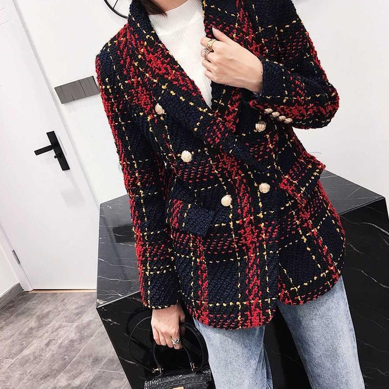 Chaqueta de tela escocesa, nueva tweed, vestido de otoño, hilo rojo, lienzo, doble botón, abrigo de mujer de invierno de alta calidad
