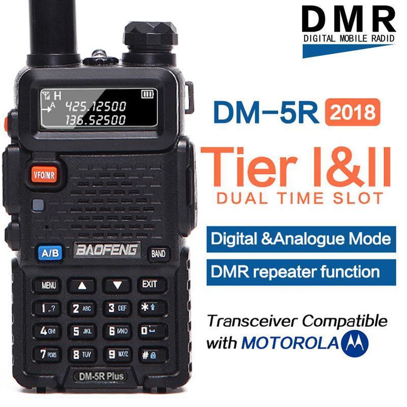 Walkie Talkie Baofeng DM-5R Tieri Tierii Tier2 RipeTitore Digitale DMR Dision Radio VHF / UHF 듀얼 밴드 CB 해양