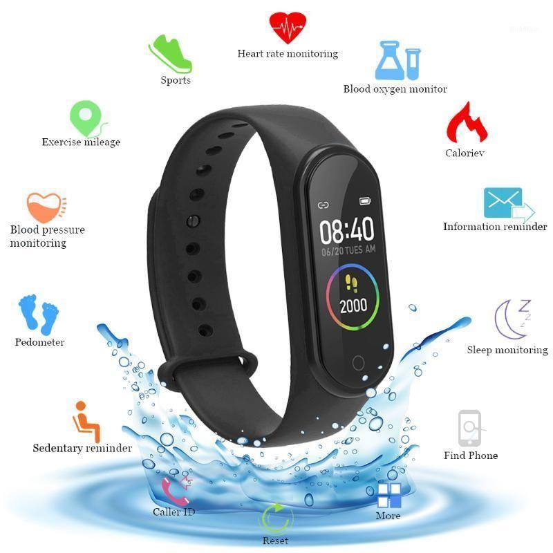 M4 cor de tela inteligente relógio de freqüência cardíaco monitor fitness tracker faixa inteligente faixa de pressão sanguínea música controle remoto1