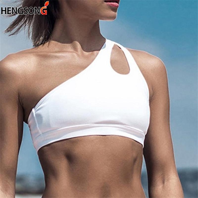 Women Push Up Fitness Bras One-shoulder Shockproof Fitness Vest Women Sports Bra Black White Yoga Running Bra