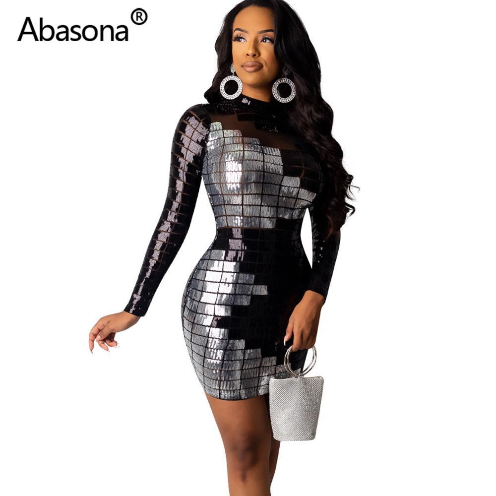 Abasona Paillette Baldy Party Robes Sexy Night Club Summer Femmes 2021 Plein Sleeve Mini Robe Sheath Sheer Sheer Mesh Noir F1130
