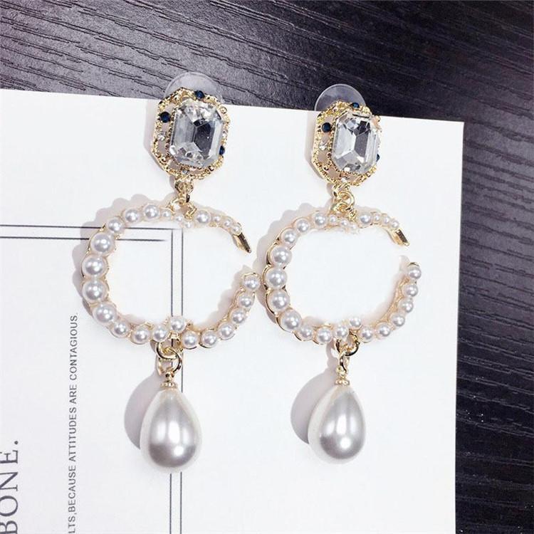 الكلاسيكية الماس اللؤلؤ أقراط خطابات مصمم السيدات أقراط النساء قلادة أقراط ترصيع كريستال ماركة القرط المجوهرات