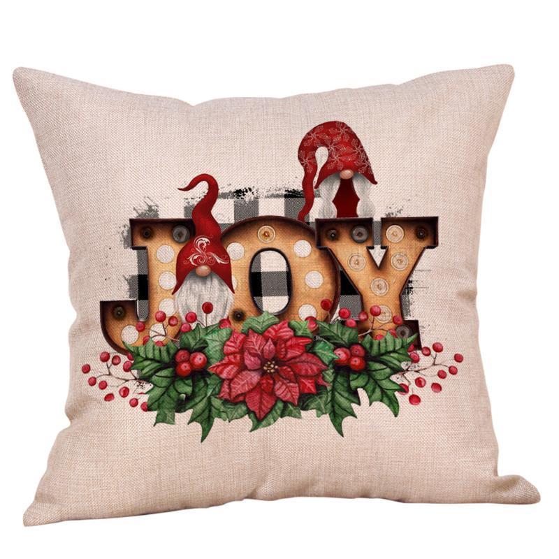 Cojín / almohada decorativa Cojín de cojín de Navidad Santa Claus Reindeer Feliz Decoraciones para adornos para el hogar Regalo Navidad Año feliz 2021 Navidad