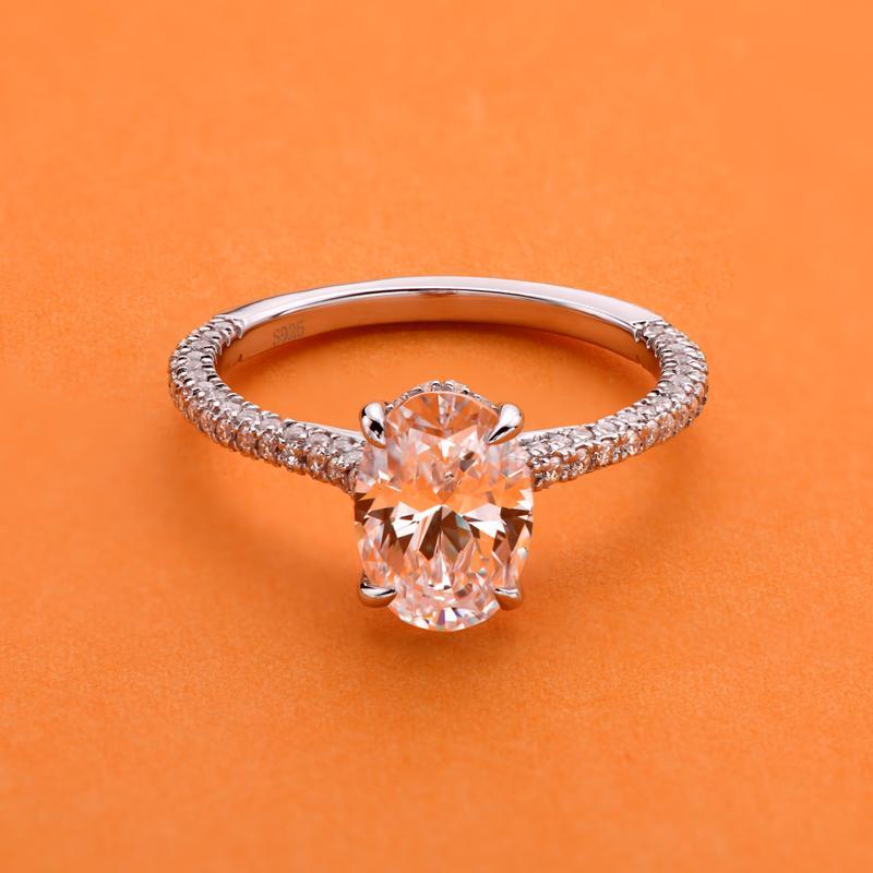 Ainuoshi 2.5 карат овальный вырезать симулированное бриллиантовое взаимодействие свадьба стерлингового серебра 4 зубья элегантные украшения для женщин Y200106