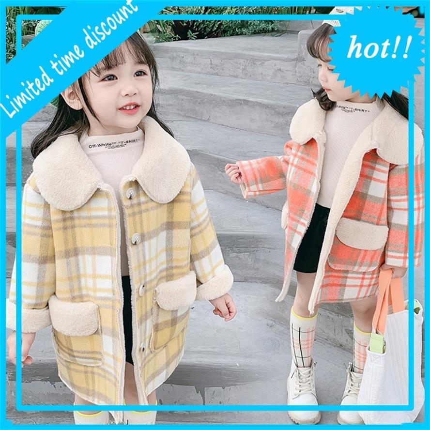 Winter Wollen Jas Girls Platts Bonn Crown Jassen Толстые куртки 2-8 лет Горячие упорные для девочек