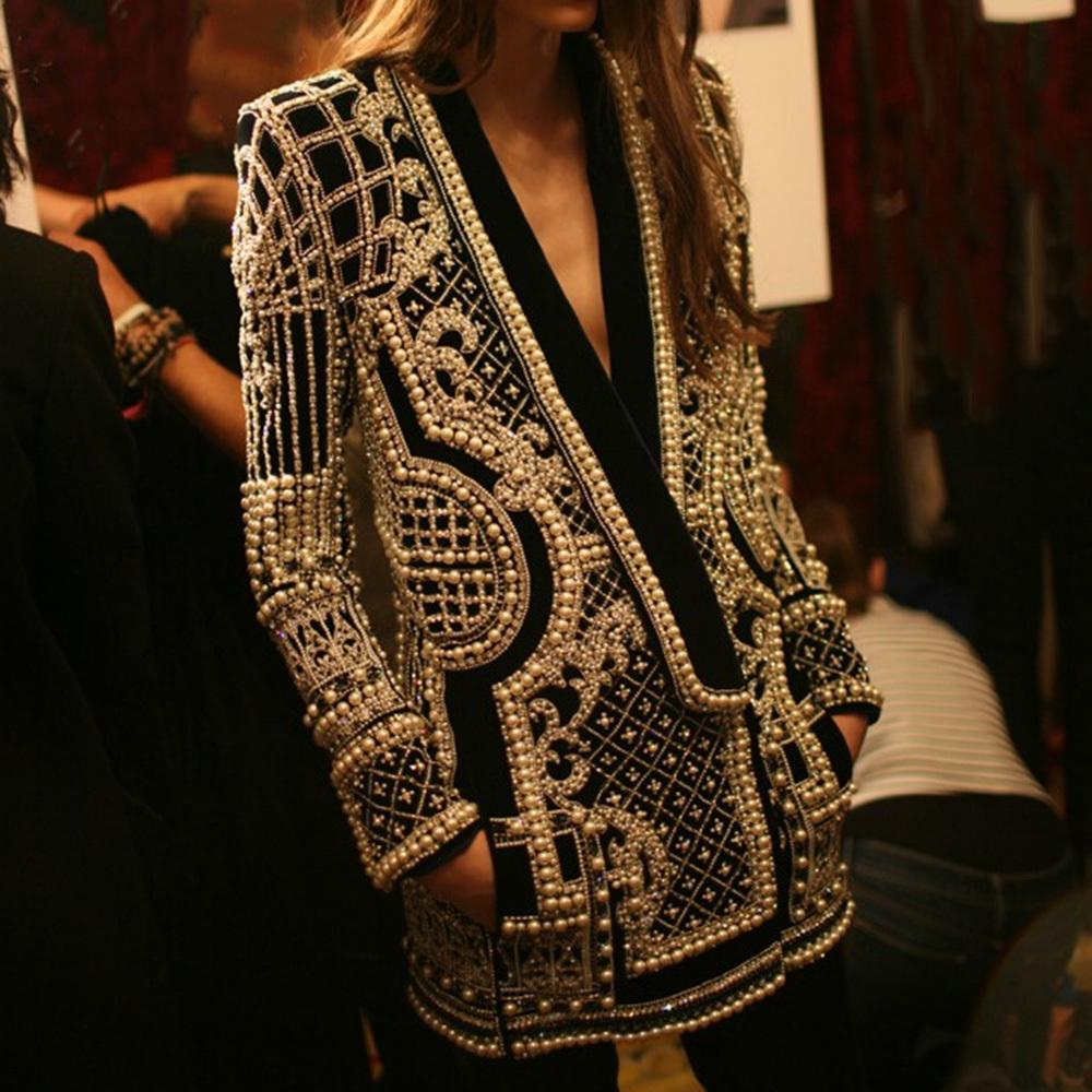 Kadın Palto Boncuklu Geometrik Sonbahar Kış Uzun Kollu V Yaka Vintage Bayanlar Dış Giyim Paltolar Retro Chic Kadın Mont 201023