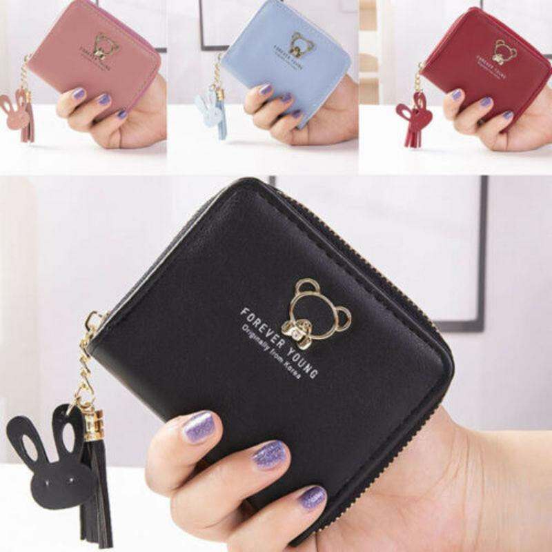 Designer-Hot Sale Women Solid Cute Coin Bag Case Leather Bear Tassel Small Handbag Purse Ladies Smart Female Mini Slim Card Wallet