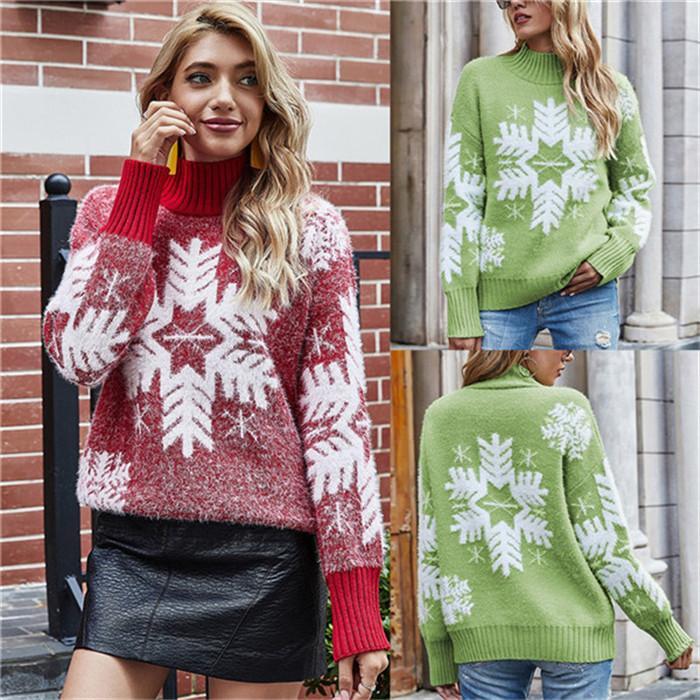Donne di Natale Designer Maglioni Snowflake Pattern Turtle Neck Manica lunga Maglione Pullover Maglione autunno Gradiente Donna Casual Casual