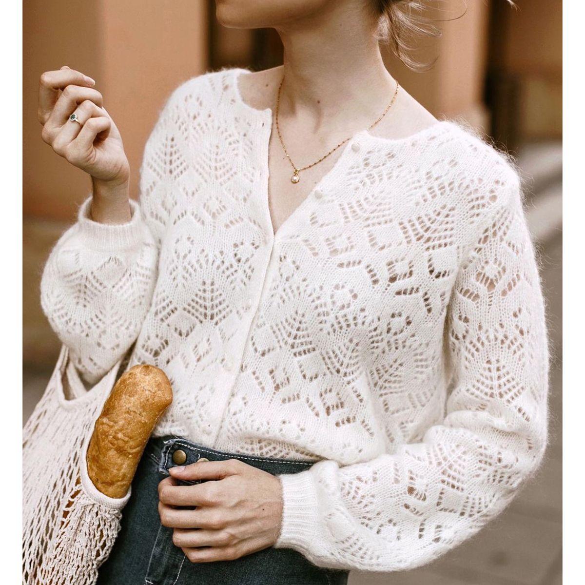Hohlbohrung heraus Strickjacke von Vintage Herbst den Hals lang lässig Sleeve Pullover 2020 Lady Office Pullover Frauen Winter Mode