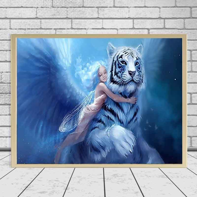 Ángel niña con tigre blanco Bordado Diamillo Diy Diamond Pintura Kit de punto de cruz 3d Costura Diamante Mosaico Decoración del hogar