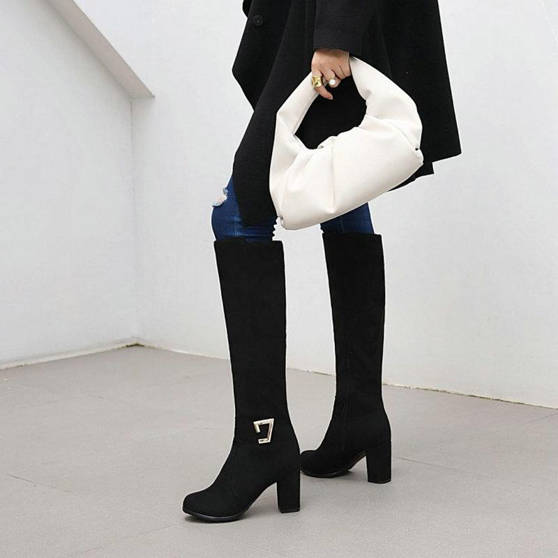 Faxu camura Borgonha azul preto mulher sapatos de inverno Bloco salto alto Feminino Joelho Botas Altas com fivela tamanho supplémentaire grande 46