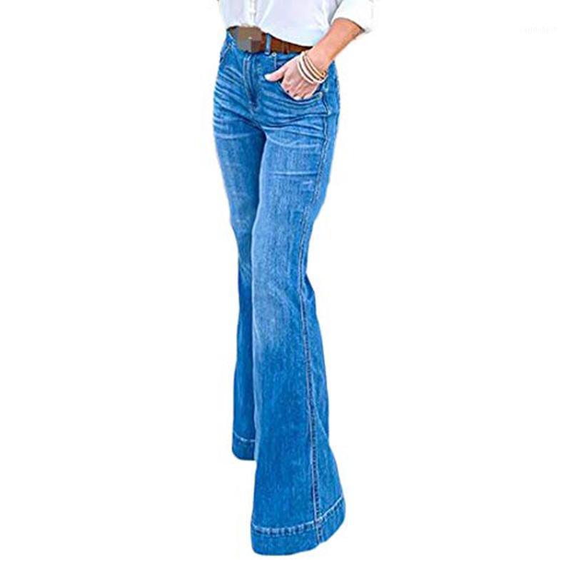Женские джинсы женщин мода высокий талию плюс размер тонкий хлопок вспыхнул джинсовый рост буткут джинсовые промытые штаны для XS-4XL1