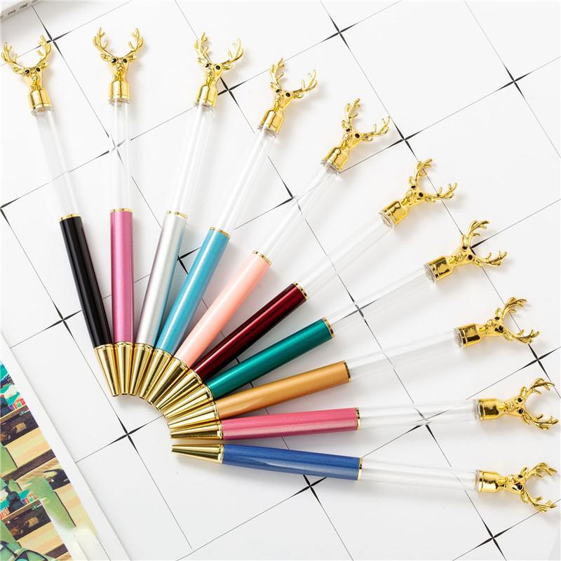 NEW DIY Empty Tube Deer Head Metal Ballpoint Pens Self-filling Floating Glitter Dried Flower Crystal Pen Christmas Student Writing