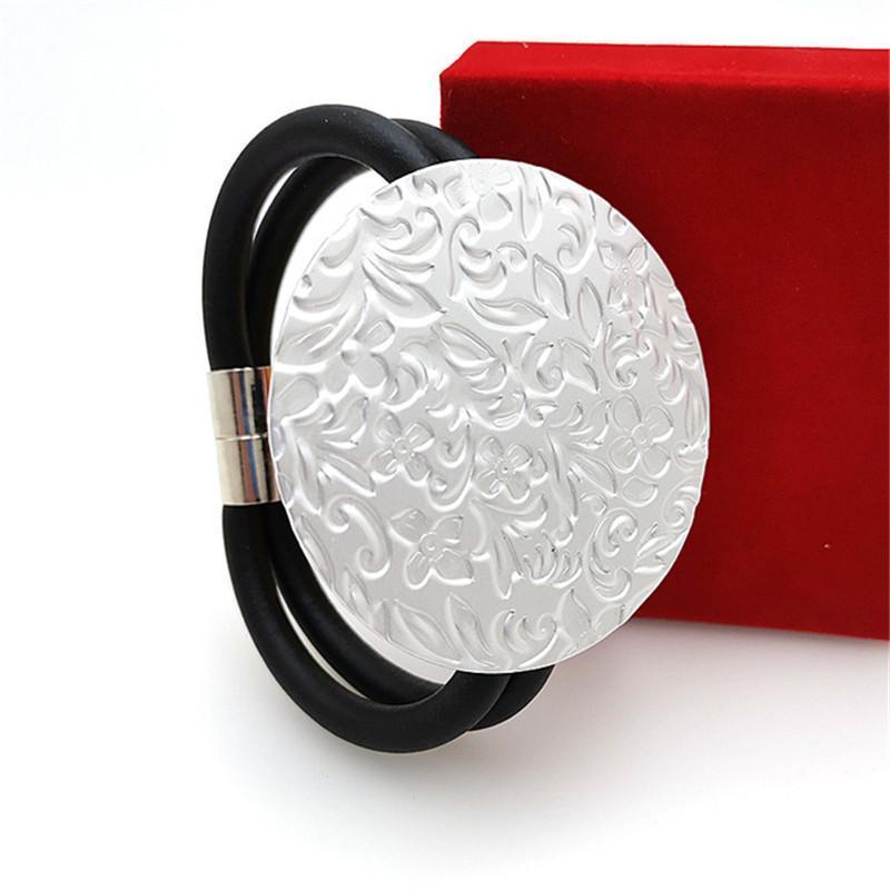Ydydbz Metal Crack Stampa Braccialetti di forma rotonda per le donne Fashion Nero Tessuto Black Charms Charms Braccialetto Notte Party Bar Decorazione