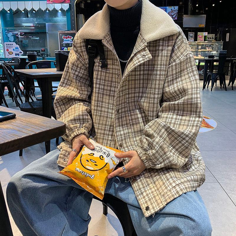Männer pullover 2020 herbst winter neue dünne karierende druck revers pullover lässig casual personalität jugend männer tragen