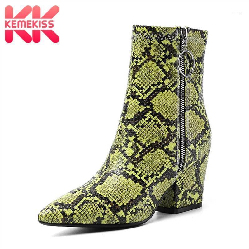 Stivali Kemekiss donna tacchi alti caviglia con cerniera con cerniera calda in pelliccia calda scarpe invernali per le calzature da ufficio a punta taglia 34-431