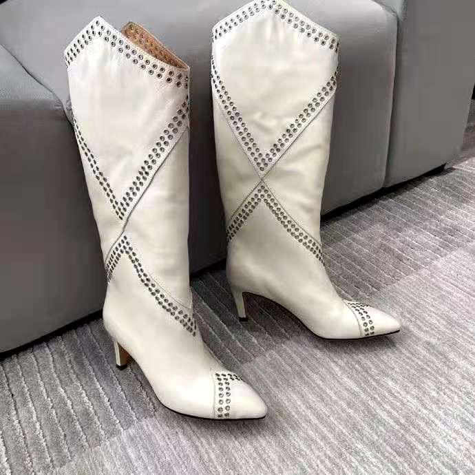 Sapatos femininos Paris lahia ilhó embelezado bezerro-alta botas brancas de couro genuíno