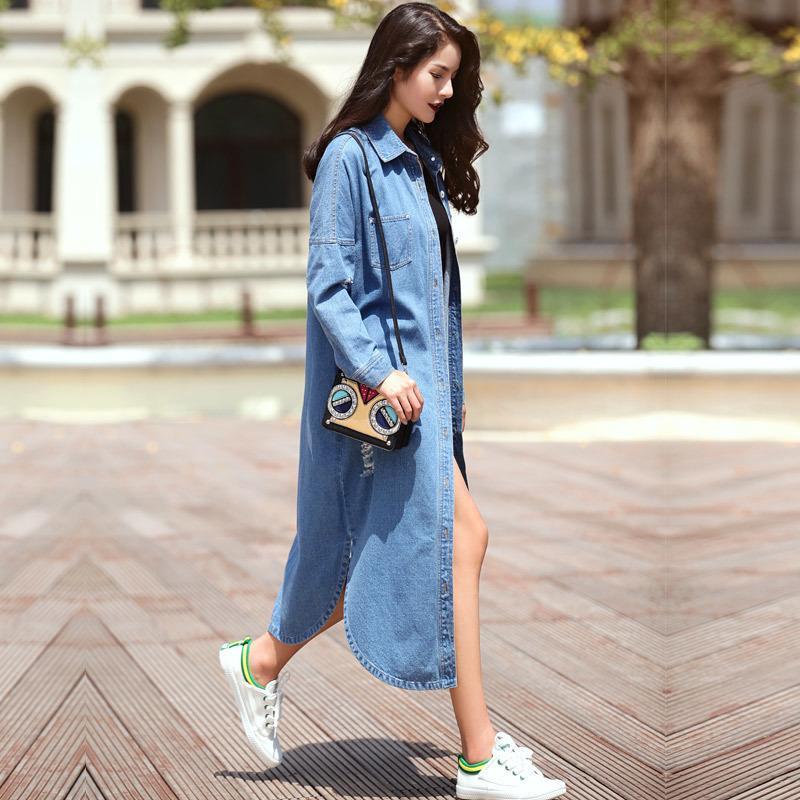 Plus Size New Spring MD-Lungo Streetwear Denim Trench Coat per le donne Hollow Blue Blue Bluebreaker Casa Casaco Feminino LJ200903