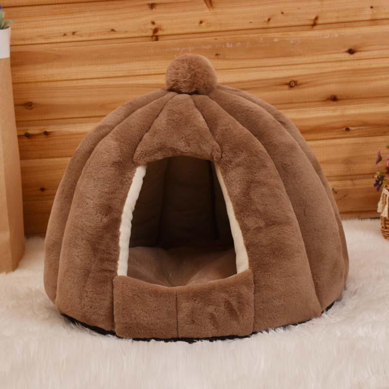 Chat amovible Chat House Yurt Lit en forme de chien de couchage Tapis de couchage Nest Kennel Confortable Chaud Coussin Pierre Chiot Nid pour l'hiver